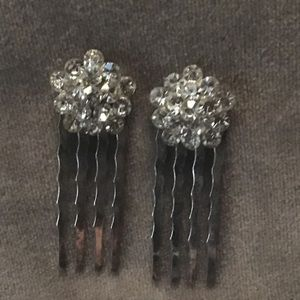 Silver Plated Hair Comb Crystals Wedding Party VTG